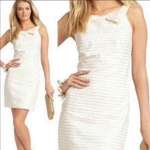 Lilly Pulitzer Henley Gold Stripe White Dress